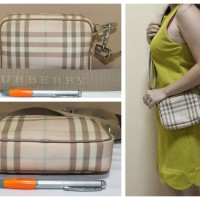 Tas branded BURBERRY LONDON BUR221 Pink nova sling second ori asli