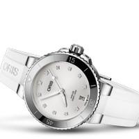 Jam Tangan Oris Aquis Date Diamonds 733 7731 4191 White Rubber Strap