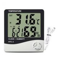 Digital Temperature, Humidity Meter with Clock Alarm, Calender - HTC-2
