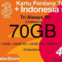 harga Kartu Perdana Tri/three 70gb Aon 3 Internet 10gb + 20gb 4g + Bonus Dll Tokopedia.com
