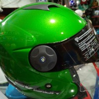 helm kyt 2 two vision half face hijau double visor size M