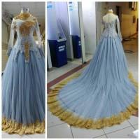 gaun semi kebaya pengantin wanita ekor