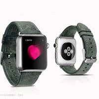 Icarer Apple Watch Leather strap / band Brown Green Genuine leather