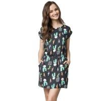 Minimal Cacti Black Dress Black Combo (mnm0712-40066720023)
