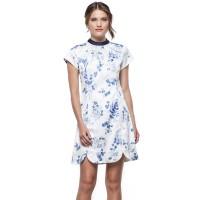 Minimal Blue Bouquet Shift Dress White Blue (mnm0712-40066210012)