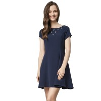 Minimal Genea Eyelet Dress Navy (mnm0712-40066860026)