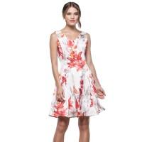 Minimal Tropical Flare Dress White Orange (mnm0712-40066280015)