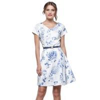 Minimal Blue Bouquet Flare Dress White Blue (mnm0712-40066190048)
