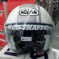 Helm Nolan N20 Traffic Caribe Black White Flat Half Face