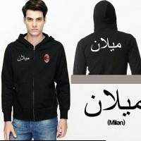 Jaket Hoodie AC MILAN Tulisan Font Arab