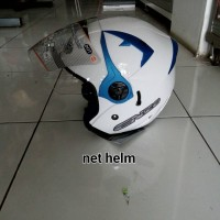 helm ink enzo solid white pearl blue doble visor
