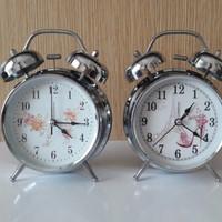 Jual Jam Weker / Jam Alarm  / Jam Hiasan Stainless Silver uk Besar Murah