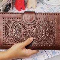 Jual Clutch Dompet Besar Pouch HPO Organizer Rhapsody Kulit Ukiran Handmade Murah