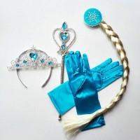 Jual Aksesoris Elsa Rambut Tongkat Mahkota Sarung Tangan Murah