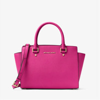 MK Selma Saffiano Leather Medium Satchel (Raspberry)