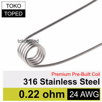 R144 Stainless Steel Pre-Built Coil 0.22 ohm | 316 SS not kanthal wi
