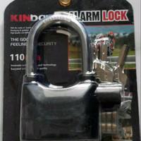 PROMO Gembok Alarm Kinbar Hitam Ring Panjang (12 cm)  -LMK222
