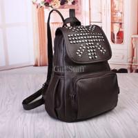 Jual Tas Ransel Backpack Wanita Kulit Studded Gaul Brown Import DSB10047 Murah