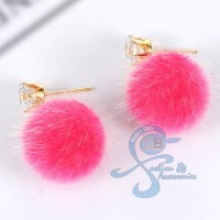 Jual Anting Pom Pom Diamond Fashion Korea Import Pink Murah