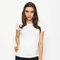 Jual SM Organic Cotton T-Shirt Light White (Woman) - Kaos polos wanita Murah