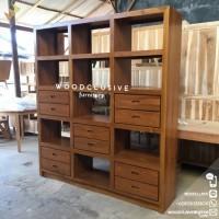 Rak lemari hias/buku minimalis 10 laci kayu jati