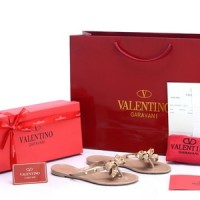 Sandal Valentino Jelly Flip Flop Bow Rockstud Cream Apricot SP805J