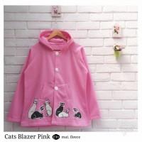 Jual Jaket Wanita Jacket Cewek Fleece Kupluk Cats Blazer Pink Murah Terbaru Murah
