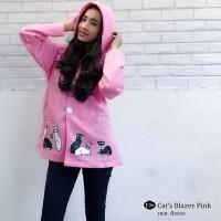 Jual Baju Atasan Wanita Sweater Cewek Fleece Cats Blazer Pink Cardigan  Murah