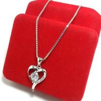 kalung liontin wanita perak silver 925 lapis emas putih/perak 925 asli
