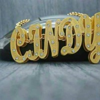 Jual kalung nama 3 dimensi kuningan lapis emas +grafir+permata Murah