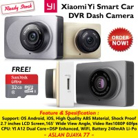 Jual Xiaomi Yi Smart Car DVR Dash Camera - FREE MicroSD Sandisk Ultra 32GB Murah