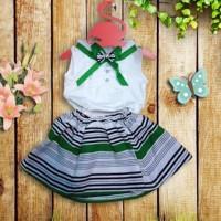 setelan baju dan rok bayi anak perempuan import garis putih hijau