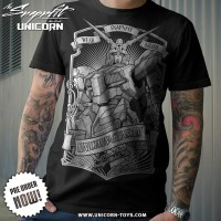 T-SHIRT KAOS GUNDAM UNICORN MONOCHOROME BLACK (SNAPNFIT)