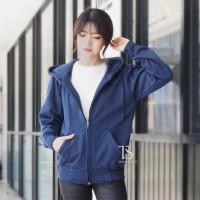 Jaket Hoodie Zipper Biru Donker / Navy Polos Wanita M - XL