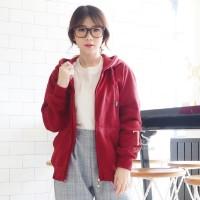 Jaket Hoodie Zipper Merah Maroon Polos Wanita M - XL