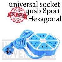 Jual UNIVERSAL SOCKET HEXAGON 4 USB 4 PORT  Murah