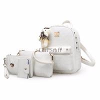 Jual Tas Wanita Ransel Backpack Rice White (4 in 1) Studded Import DSB10139 Murah