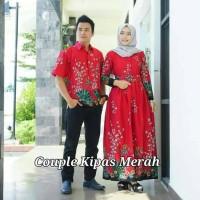 harga Baju Couple Sarimbit Gamis Batik Kipas Merah, Bahan Katun Halus, Adem Tokopedia.com