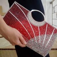 Tas Pesta Import Clutches Kristal Gagang Hitam Maroon Hijau 2851061