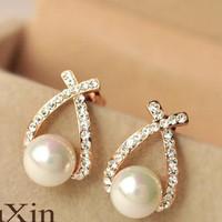 anting mutiara diamond silang cross pearl diamonds earrings jan096