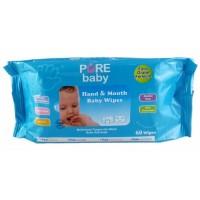 PURE BABY Hand & Mouth Baby Wipes 60sheets | Tissue Basah Bayi