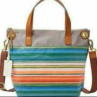 Fossil Keely Tote Bright Stripe and MUlti White canvass Printed