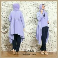 Set Niken Lavender Navy | Atasan Tunik + Celana + Pashmina