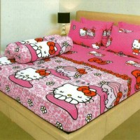 Sprei lady rose motif Hello Kitty ukuran 120 X 200/Single (Kasur No.3)