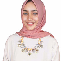 Kalung Gemstone Oval Fashion Hijab Modis Keren Simple Modern ZPN024