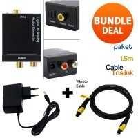Paket Kabel Toslink + CONVERTER (Optic)Digital to (Rca)Analog Audio