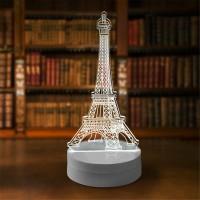 Lampu Tidur Hias LED 3D Transparan Desain Eiffel Tower / Menara Eiffel