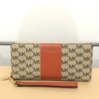 Dompet Michael Kors Jetset Travel Continental Orange Mk Original