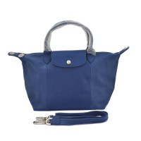 LONGCHAMP LE PLIAGE CUIR SMALL ORIGINAL WITH LONG STRAP - NAVY BLUE