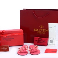 Sandal Valentino Jelly Flip Flop Bow Rockstud Pink SP805J